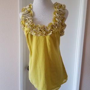 Womens Yoana Baraschi Yellow Green Top XS